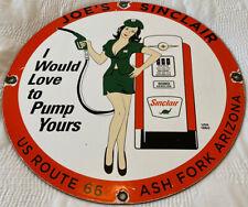 New ListingVintage Joe'S Sinclair Gas Station Pump Plate Porcelain Sign Motor Oil Pin Up