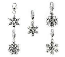 Snowflake Charms Lobster Clasp Clip on European Jewelry Lot of 10