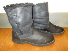 Black Slouchy Biker-Style Boots 7/ 42, Faux Leather/ Faux Fur. Chunky/ Warm