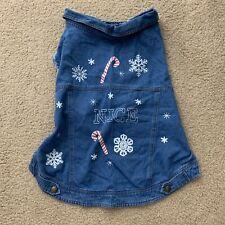 Dog Clothing Denim Vest Jacket Winter Christmas Snowflake Blue Cotton Size Large
