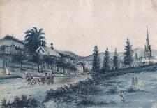 IMPRESSIONNISTE Horse & Transport dans la peinture de paysage c1870 poss colonial