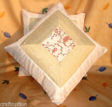 Set of two white silk floral paisley embroidery center with brocade pillow cover