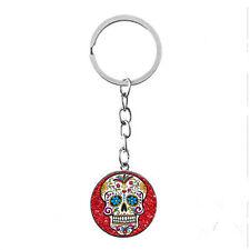 Vintage Glass photo Cabochon charms silver Matal Key(red Sugar skull cross