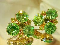 Super Sparkly Green Rhinestone Vintage 50's Clip Earrings  168j7