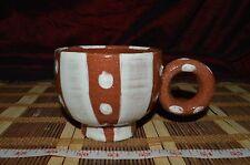 Pottery Terra Cotta Southwest Design Coffee / Tea Mug, Cup Dots & Stripes marked