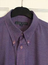 Men's Silver Stripe violet & rose vichy carreaux col boutonné shirt Medium