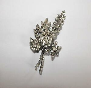 Vintage 1950's Diamante Paste Large Flower Spray Brooch Pin A/F