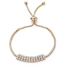 Gold CZ Band Adjustable Tennis Bracelet