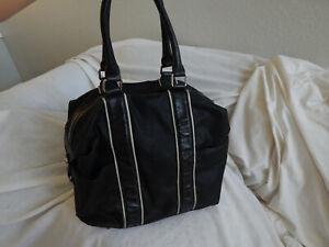 L.A.M.B GWEN STEFANI BLACK LEATHER LARGE BOWLING BOWL BAG STYLE BAG