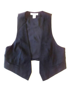 Ladies waistcoat H&M Size S UK 10? Black open Lined Good cond Christmas S1