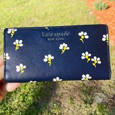 Kate Spade Delgado con doble pliegue de cuero billetera Cameron grandes Daisy Toss Tapa de la noche Floral
