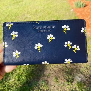 Kate Spade Cameron Large Slim Bifold Leather Wallet Daisy Toss Night Cap Floral