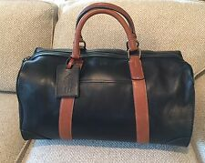 POLO RALPH LAUREN Duffle Bag LEATHER Travel Weekender Gym $698 Mens BLACK 2-TONE