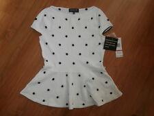 Jones New York Collection Petite White & Black Polka Dot Viscose Top