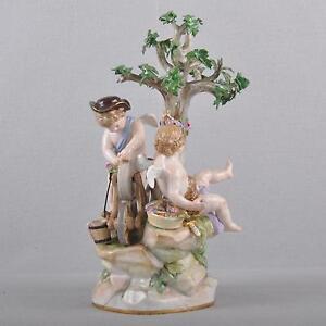 Meissen Figure Putto At Grindstone, Amor Love Schleifend 1.Wahl Um 1860