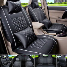 PU Leather Car Seat Cover 5-Seats Black+White Front & Rear Neck Pillow Size L