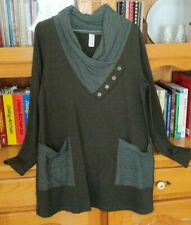 CHALET Women's Size S Dark Green Gray Tunic Top Draping Cowl Neck w/Front Pocket