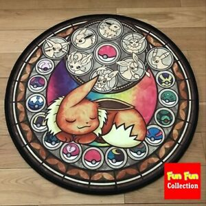 Pokemon Go Eevee Circle Anime Velboa Floor Rug Carpet Room Doormat Non-slip Mat
