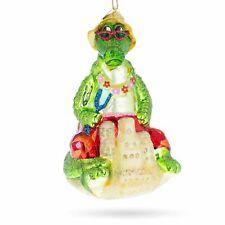 Alligator on the Beach Glass Christmas Ornament