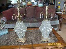 Hollywood Regency Crystal Diamond Cut EF & EF Industries Inc. 1972 Table Lamps