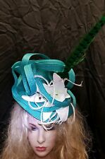 Fascinator hatinator hat races wedding emerald green - one off design