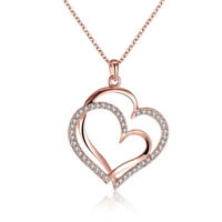 18K Rose Gold Plated Austria Crystal Double Heart Pendant Necklace For Women
