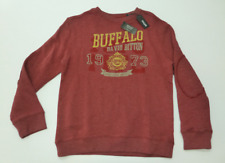 Buffalo David Bitton Boys Size Large Red Crew Neck Elbow Patch Sweatshirt New