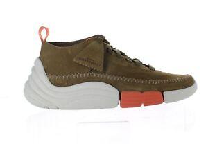 Clarks Mens Trigenic Rev Olive Suede Fashion Sneaker Size 9.5