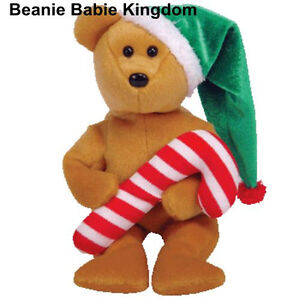 TY BEANIE BABY TASTY * THE CHRISTMAS TEDDY BEAR WEARING HAT & HOLDING CANDY CANE