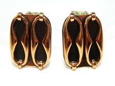 Vintage RENOIR ABSTRACT MODERNIST Style Copper Clip Earrings