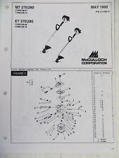 McCulloch MT270 MT280 ET270 ET280 Trimmer Spare List Catalogue