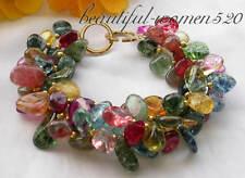 "abnormity crystal bracelet 14k-20 z3980 3row 8"" 13mm multicolor"