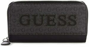NEW GUESS Women's Waldron Black Logo Print Zip Around Wallet Clutch Bag