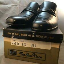 Vintage Sears black Leather Mens dress shoes Size 8 1/2 D 74008 667