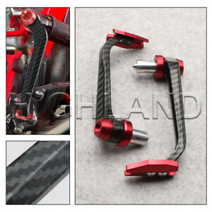 """7/8"""" CNC Universal Handlebar Grips Brake Clutch Levers Guard Protector Red"""