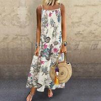 Women Vintage Bohemian Print Floral Lady Sleeveless O-Neck Strap Maxi Long Dress