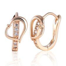 Engagement 18K Gold Filled White Topaz Love Heart Huggie Hoop Earrings Jewelry