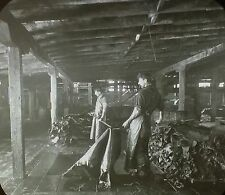 Hides Being Removed from Tanning Vats, Canada, Magic Lantern Glass Slide