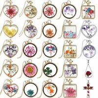 New Natural Real Dried Flower Round Heart Glass Floating Locket Pendant Necklace