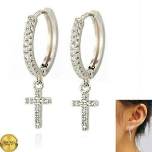 Mens Womens 18k White Gold Filled Simulated Diamonds Pave Cross Hoop Earrings