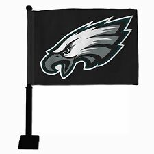 PHILADELPHIA EAGLES BLACK ON BLACK CAR FLAG BLACK POLE THICK DOUBLE SIDED