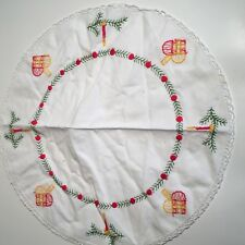 Vintage Linen Cotton Christmas Embroidered Table Dollies-Round