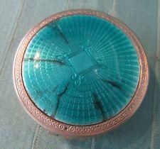 Vintage R. Hudnut Blue Guilloche VANITY CASE COMPACT, Deauville, Powder & Rouge