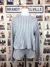 Brandy Melville SAMPLE 2 PIECE SET! Gray Striped Crop Crewneck & Lisette Shorts