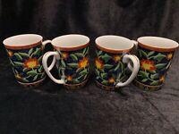 Takahashi San Francisco 1981 Kashmir Coffee Mugs Hand Decorated Set of 4