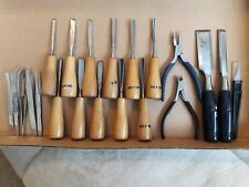 Lot of 21 wood carving chisels gouges & hand crafting tools