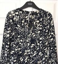 M&S Marks £55 12 Autograph Luxe Navy Blue MarblePrint Stretch Fitted Dress BNWT