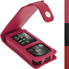 Pink Leder Tasche Hülle für Sony Walkman NWZ-E384 + Schutzfolie Karabinerhaken