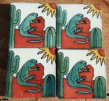 "36~Talavera Mexican 2"" tile pottery handpainted SOUTHWEST GECKO LIZARD  Green"