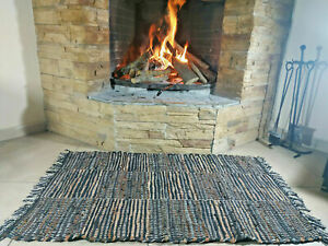 Rustic Leather Rug BROWN with Square Carpet Hearth Fire Resistant